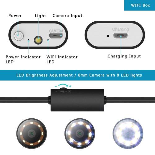 Эндоскоп Dr.meter WiFi 2.0 mp HD 5м жесткий кабель водонепроницаемый IP67