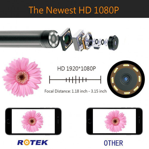 Эндоскоп ROTEK WiFi HD 5м кабель 1600x1200 водонепроницаемый IP 68 Футляр
