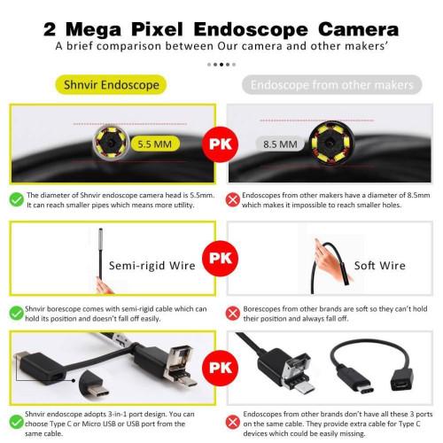 Эндоскоп 5,5 мм. 1600*1200 USB 3в1 HD 5м жесткий кабель водонепроницаемый