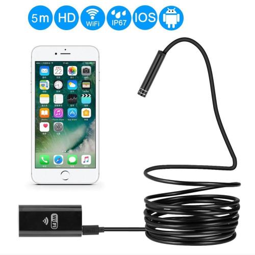 Эндоскоп WiFi 1280*720 HD 5м жесткий кабель водонепроницаемый 8 LED IP67