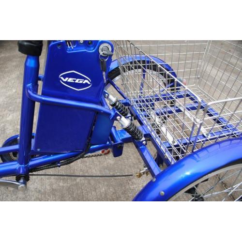 Электровелосипед трехколесный грузовой VEGA HAPPY  реверс синий